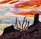Gallery of Original Landscape Art Quilt Chimney Rock Sunset