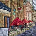 Gallery of Original Landscape Art Quilt Cityscape Sidewalk Cafe