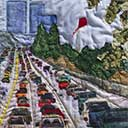 Gallery of Original Landscape Art Quilt Cityscape Traffic