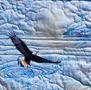 > Original Landscape Watercolor Quilt Eagle Fishing