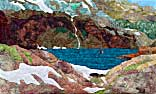 > Original Landscape Watercolor Quilt Emerald Lake of the San Juans