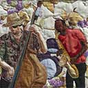 Gallery of Original Landscape Art Quilt Bass and Sax Musicians