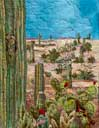 > Original Landscape Watercolor Quilt Saguaro in Bloom!