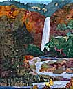 > Original Landscape Watercolor Quilt Treasure Falls Autumn