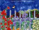 > Original Landscape Watercolor Quilt Garden Fence