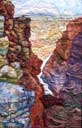 > Original Landscape Watercolor Quilt Grand Canyon Vista