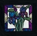 > Original Landscape Watercolor Quilt Iris Stained Glass