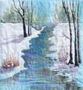 > Original Landscape Watercolor Quilt Winter Quiet