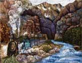 > Original Landscape Watercolor Quilt Along the Animas River