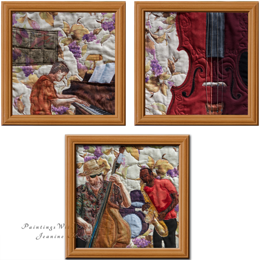 Musical Instruments TriadOriginal Landscape Quilt Art Quilt