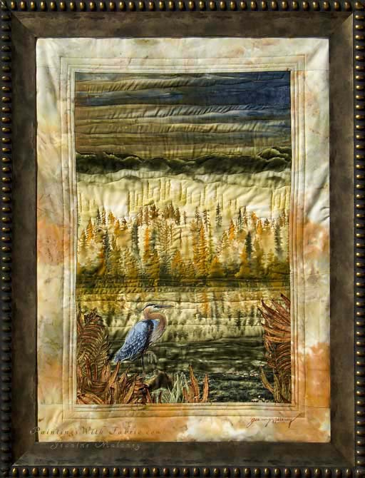 On Golden PondOriginal Landscape Quilt Art Quilt