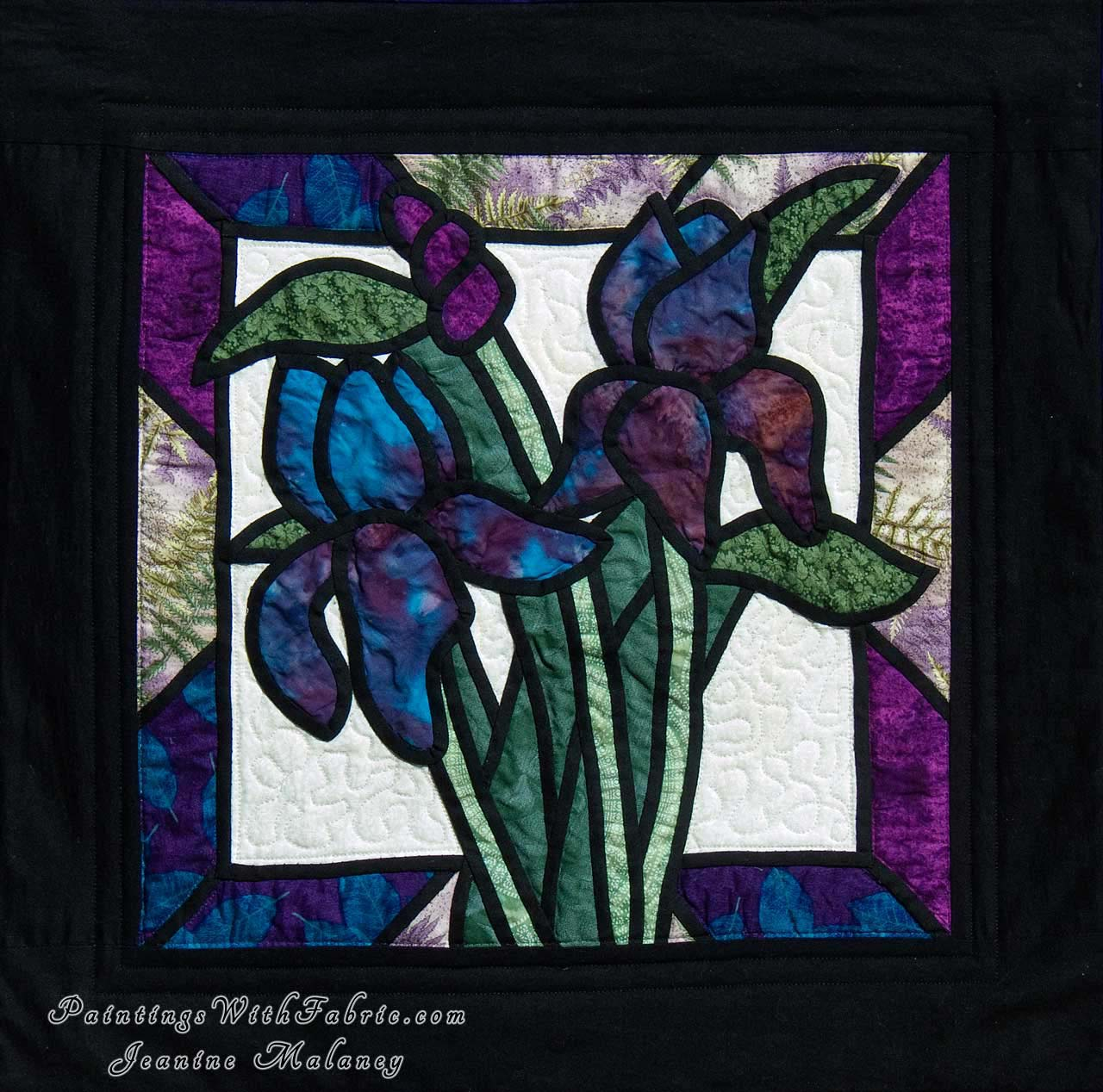 Iris stained glass a fabric ladndscape art quilt for Using fabric paint on glass