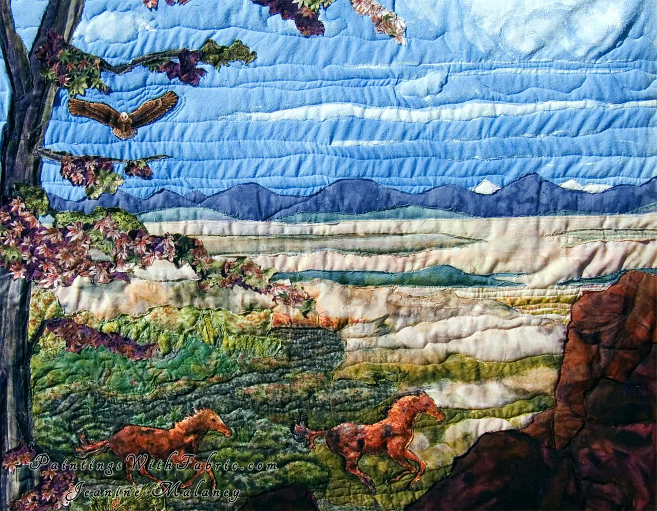 spirit of american west iii a fabric ladndscape art quilt