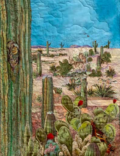 Saguaro in Bloom!Original Landscape Quilt Art Quilt