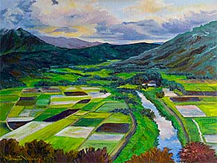 Oil painting of the Taro Fields in Hawaii