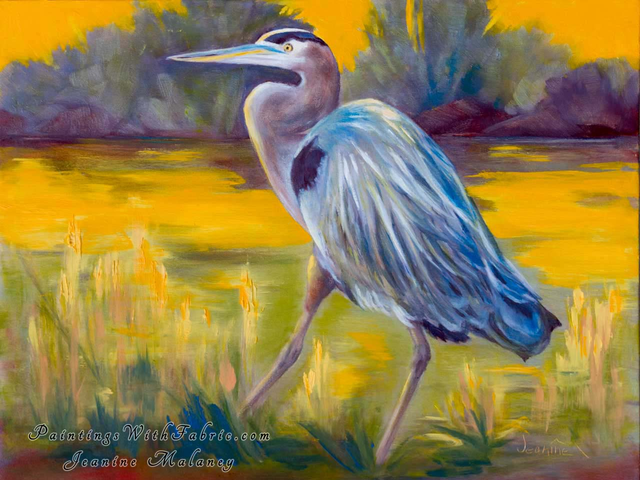 Great Blue Heron Unframed Original Watercolor Painting Landscape