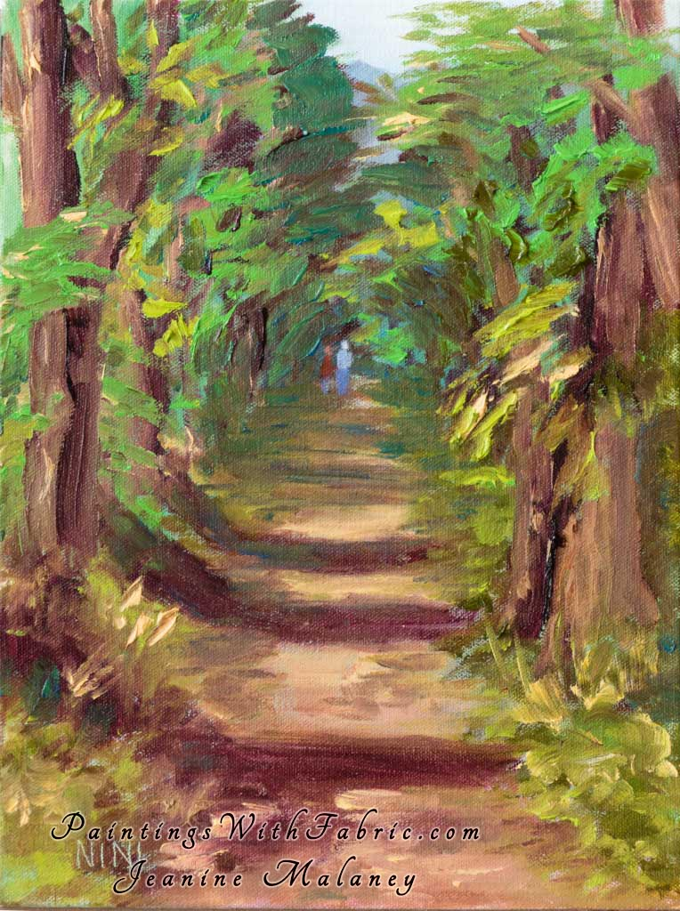Tree Tunnel on Kauai with me and Dale Unframed Original Watercolor Painting