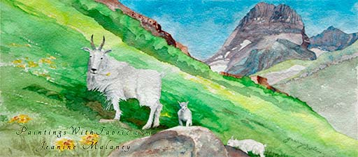 Beneath Mt. Wilbur  Unframed Original Panorama Watercolor Painting Mountain goats in rugged terrain