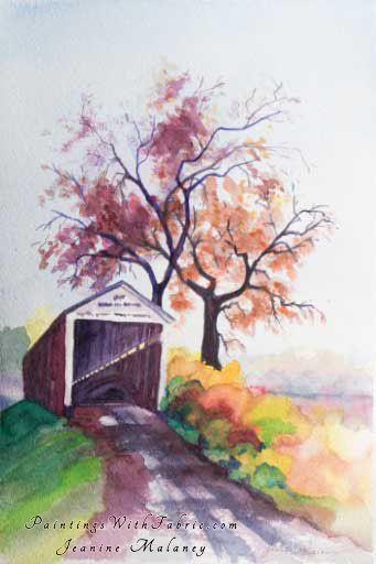 Indiana Covered Bridge - an Original Artwork Watercolor Painting