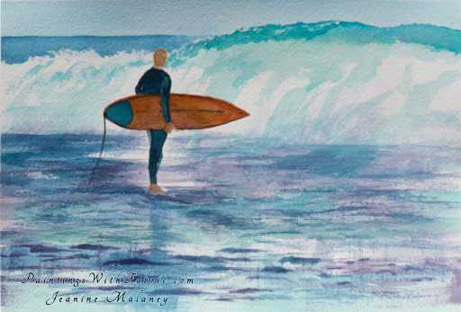 Surfer Moment - an Original Artwork Watercolor Painting