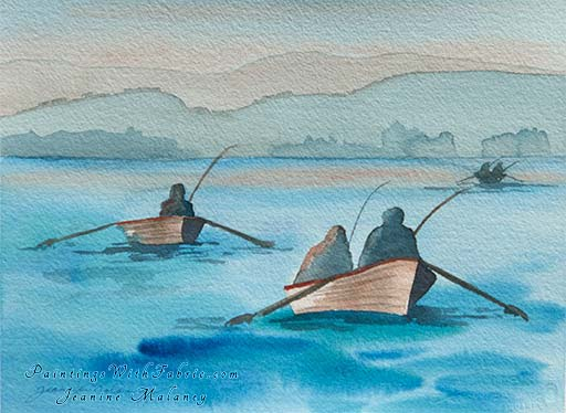 Tyee Fishing  - an Original Artwork Watercolor Painting