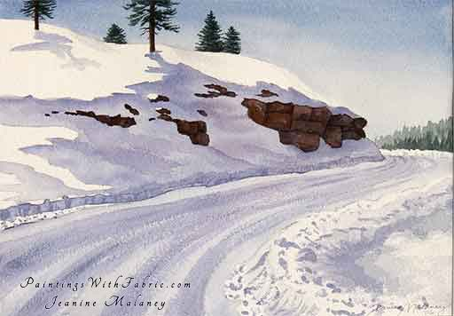 Along Piedra Road Unframed Original Winter Watercolor Painting a forest road in the Colorado winter