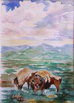 Bison Watching - an Original Southwest Watercolor Painting