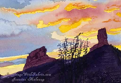 Chimney Rock - an Original Southwest Watercolor Painting
