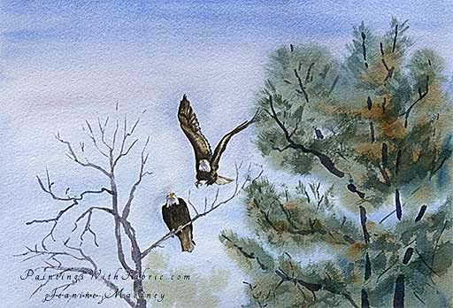 For Life Unframed Original Artwork Watercolor Painting of two eagles as seen in Glacier National Park