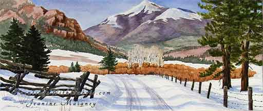 East Fork Road - an Original Winter Watercolor Painting