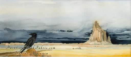 Winter Wheat at Shiprock - an Original Panorama Watercolor Painting