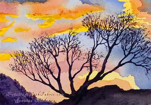 Sunset Tree - an Original Southwest Watercolor Painting