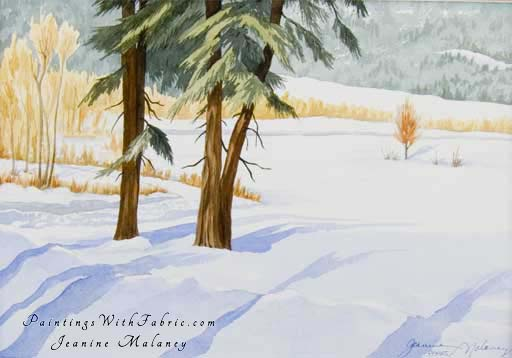 Winter Meadow - an Original Winter Watercolor Painting