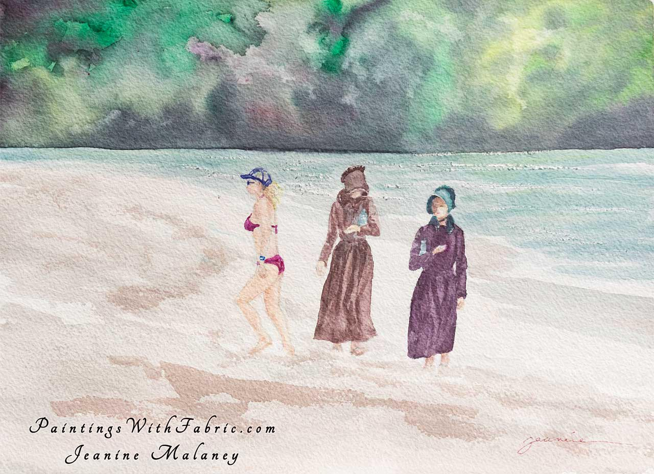 America! Unframed Original Watercolor Painting a Kauai beach with three ladies on it