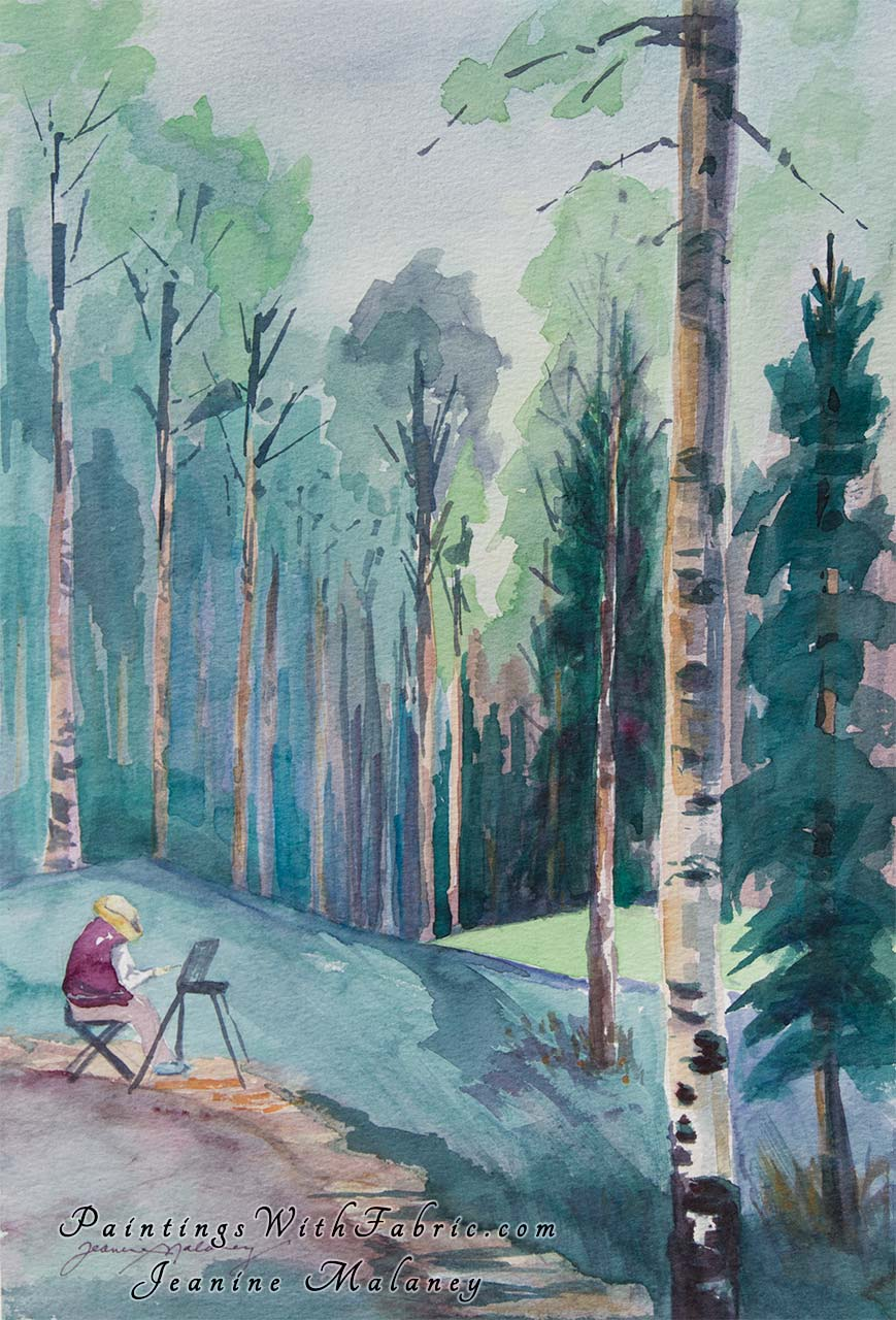 Aspen Painter Inspiration Unframed Original Watercolor Painting plein air painter painting the aspens in the Rocky Mountains
