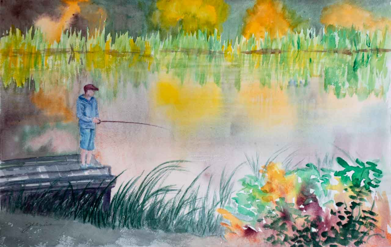 Camden's Last Cast of the day Unframed Original Watercolor Painting Camden's Last Cast of the day on a small lake
