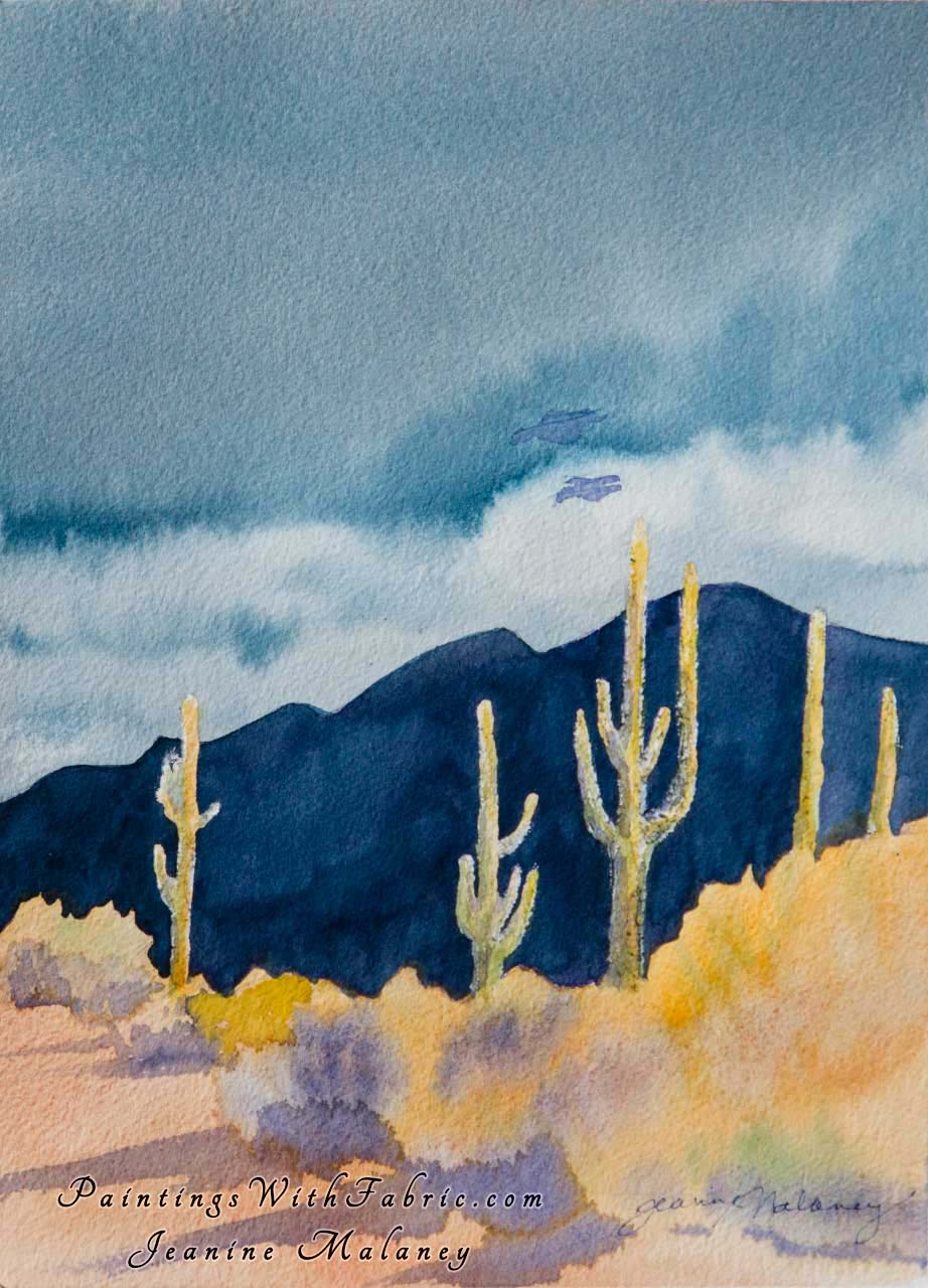 Desert Aglow Unframed Original Watercolor Painting a desert view of several Saguaro Cactus at sunset