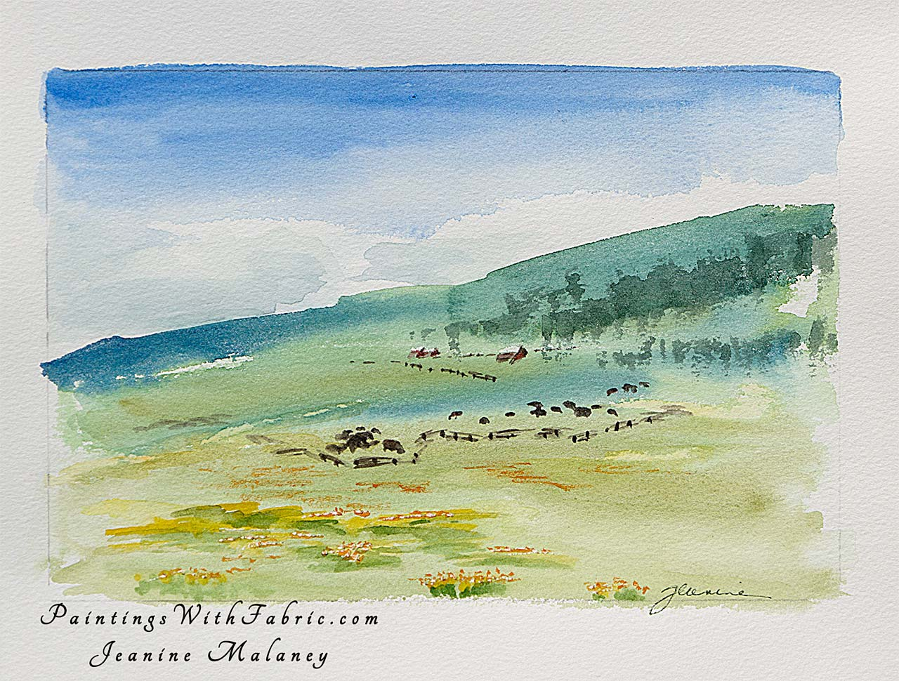 East Fork Ranch Unframed Original Watercolor Painting