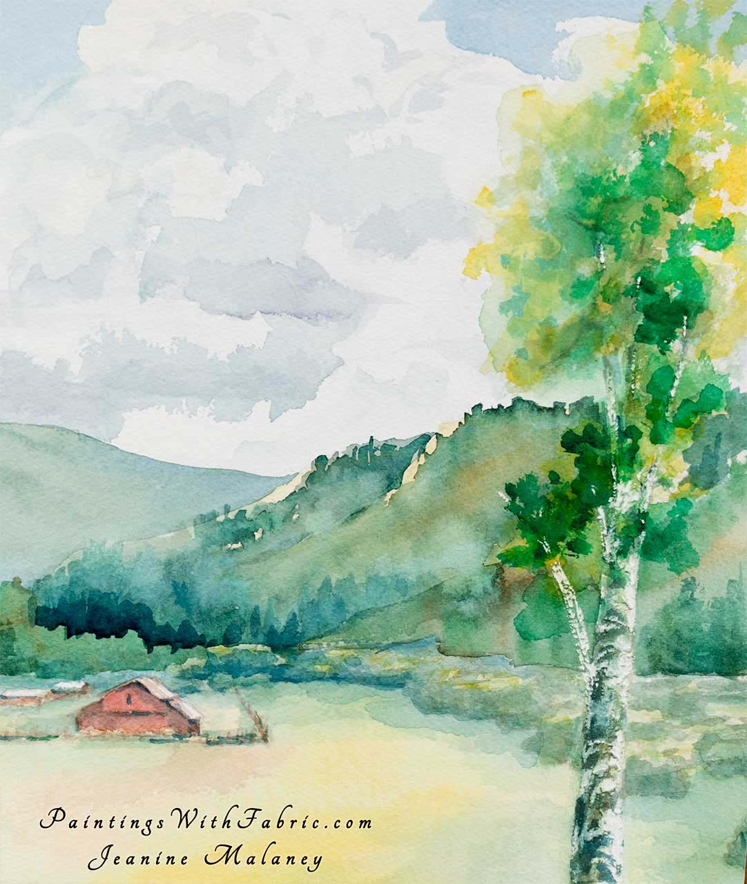 Greer Valley Unframed Original Watercolor Painting old barn its in a valley with a mountain background and a only a