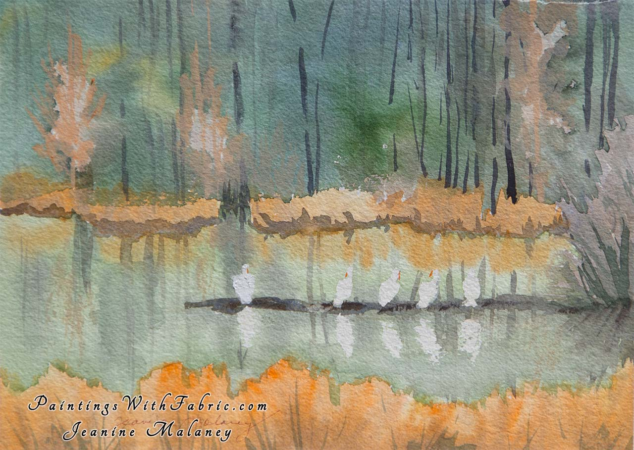 White Pelicans at Yellowstone Unframed Original Watercolor Painting Colorado  Rocky mountain view