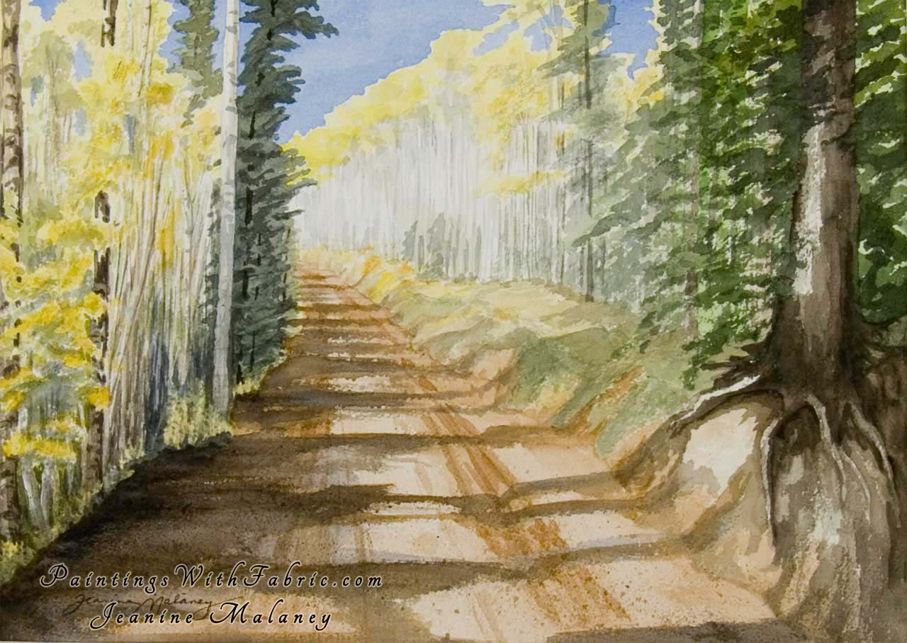 Aspen Road Unframed Original Watercolor Painting of a forest road line with trees in the fall