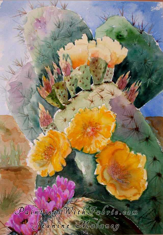 Prickly Pear Ablaze Unframed Original Watercolor Painting of a flowering Prickly pear cactus
