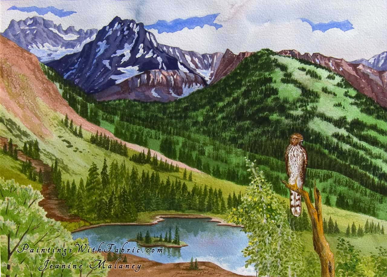 The Sentinal Unframed Original Watercolor Painting of a Coopers Hawk and lake with mountains in CO