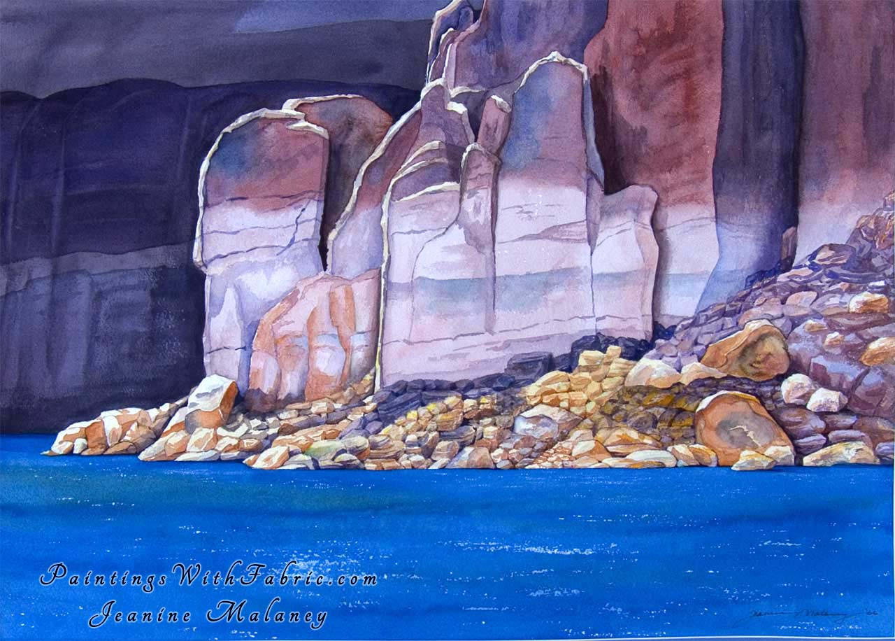 Lake Powell II Unframed Original Watercolor Painting of a rockey cayon view at Lake Powell