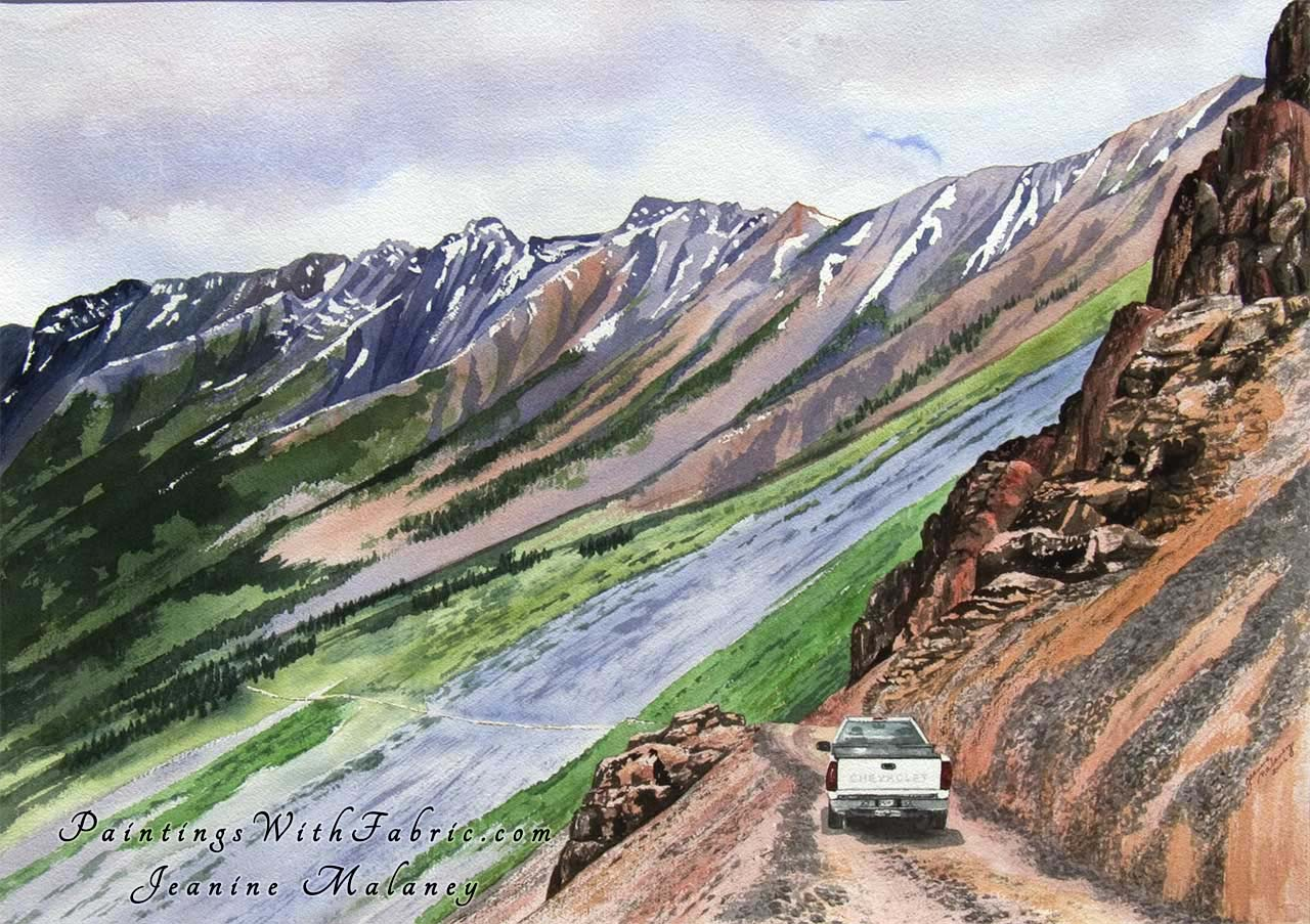 Ophir Pass Ouray Unframed Original Watercolor Painting of a 4 wheel dirve truck on Ophir Pass trail