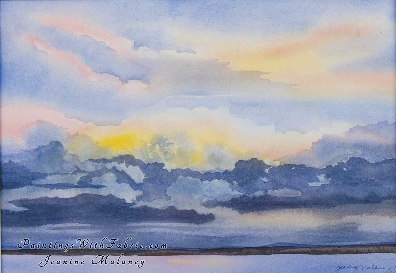 Gift of a New Day Unframed Original Watercolor Painting of a Colorado Sunrise on Village Lake outside of Pagosa Springs